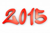 Red 2015 year on a white background. 3d rendered image — Stock Photo