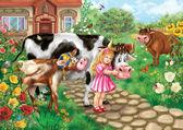 Little girl hugs a calf, alongside cow and bull on a background — Stock Photo