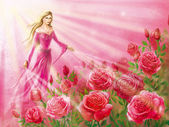Girl in a pink dress, bearing the filaments of light to the rose — Stock Photo