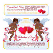Angels-cupids card — Stock Vector