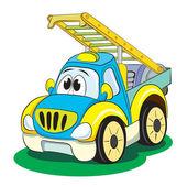 Cartoon funny car ladder. — Stock Vector