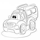 Cartoon funny car minivan. — Stock Vector