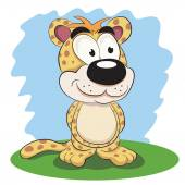 Cartoon funny leopard. — Stock Vector