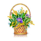 Spring flowers basket — Stock Vector