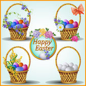 Easter eggs and flowers — Stock Vector