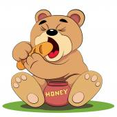 Bear eating honey and bread — Wektor stockowy