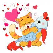 Cartoon cat with fish — Stock Vector