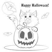 Halloween sketch cat — Stock vektor