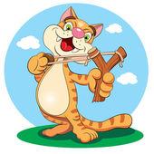 мультипликационная кошка с рогаткой — Cтоковый вектор