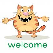 Cartoon  welcoming cat — Wektor stockowy