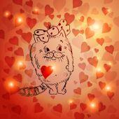 Cartoon kat met hart — Stockvector