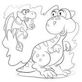 Two cartoon  little dinosaurs — Stockvector
