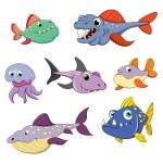 Fish  predators set — Stock Vector #64603191