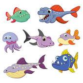 Fish  predators set — Stock Vector