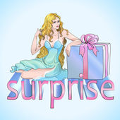 Girl with surprise box — Stockvector