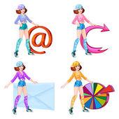 Cartoon girls with symbols — Stock Vector