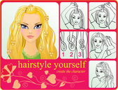 Creating girl hairstyle — Stock Vector