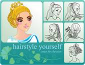 Creating woman hairstyle — Stock Vector