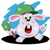 Cartoon hare  soldier — Stock Vector
