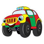 Cartoon of merry car jeep. — Stock Vector