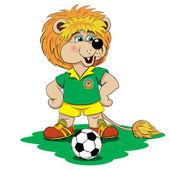 Jugador de fútbol León de dibujos animados — Vector de stock