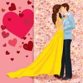 Girl kissing boy — Stock Vector
