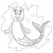 Funny cat mermaid — Stock Vector