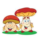 Two cartoon  mushrooms — Stock vektor