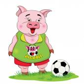 Piggy-footballer with a football on the lawn — Cтоковый вектор