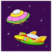 Spacecraft in starry cosmos — Stock Vector