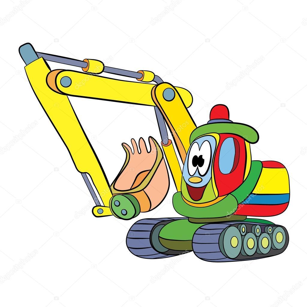 Dessin animé de joyeux pelle mécanique — Image vectorielle ...