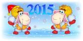 Sheep play snowballs — Stock Vector