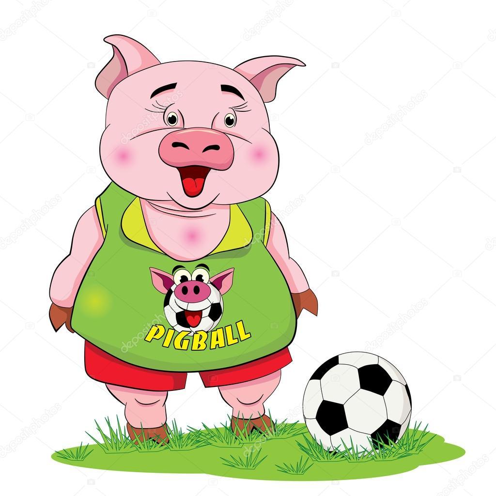 卡通搞笑的小猪球员与足球在草坪上– 图库插图