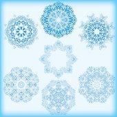 Conjunto de copos de nieve azules — Vector de stock