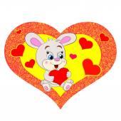 Cartoon rabbit with heart — Stock Vector
