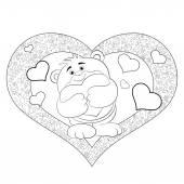 Cartoon  bear with heart — Vetor de Stock
