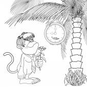 Cartoon gorilla with   flower — Stock Vector
