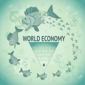 World Economy Caricature — Stock Vector