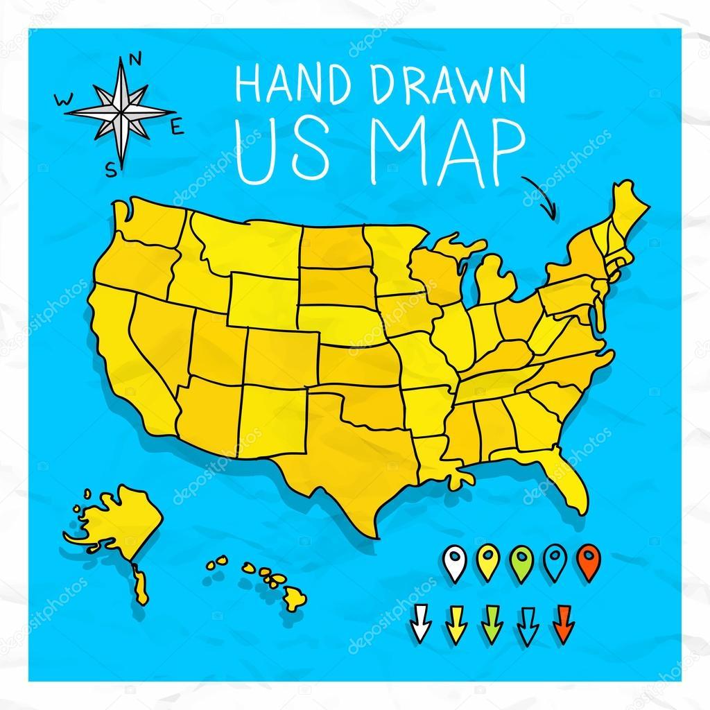 手绘我们地图蒙山地图别针矢量图