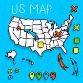 Hand drawn US map vector illustration — Stockvektor