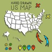 Hand drawn US map vector illustration — Stock Vector