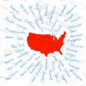 Hand Drawn USA states vector illustration — Stock Vector