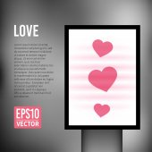 Vector Love heart valentine vertical light billboard — Stock Vector