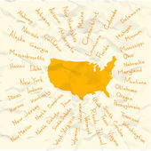 Hand Drawn USA states vector on crumpled paper illustration — Vettoriale Stock