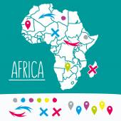 Hand drawn style flat Africa travel map with pins vector illustration — Stock Vector