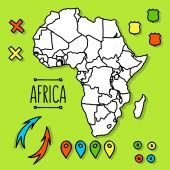 Hand drawn Africa travel map with pins vector illustration — Stock Vector