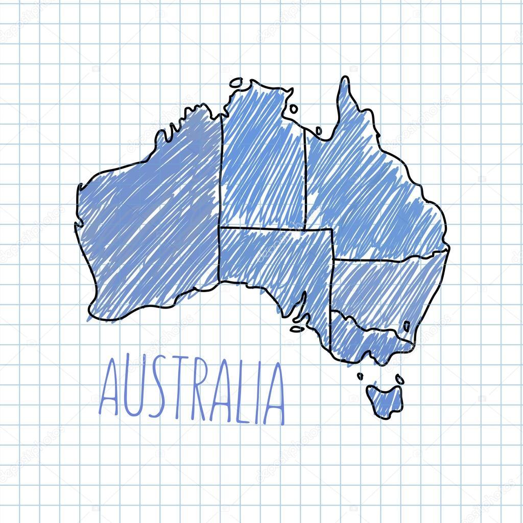 笔手绘的澳大利亚地图矢量上纸图– 图库插图