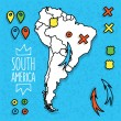Cartoon style hand drawn travel map of South America with pins vector illustration — Stock Vector #71049833
