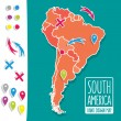 Cartoon style hand drawn travel map of South America with pins vector illustration — Stock Vector #71050219