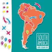 卡通风格的手绘制的旅游地图的南美洲与针脚矢量图 — 图库矢量图片